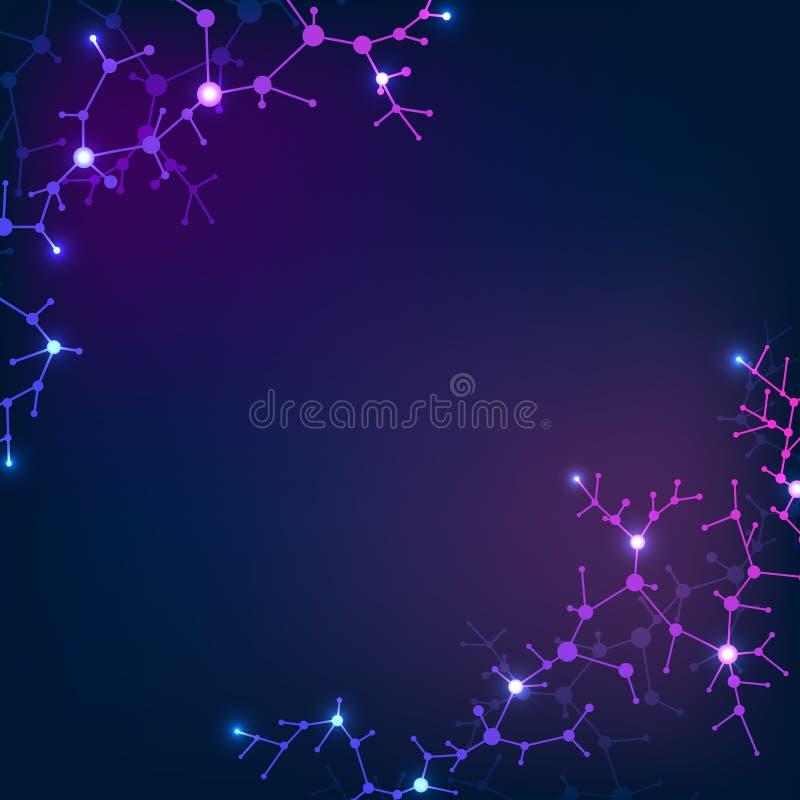 Strukturelle Molekülelemente, Neuronnetz Wissenschafts- und Chemievektorhintergrund vektor abbildung