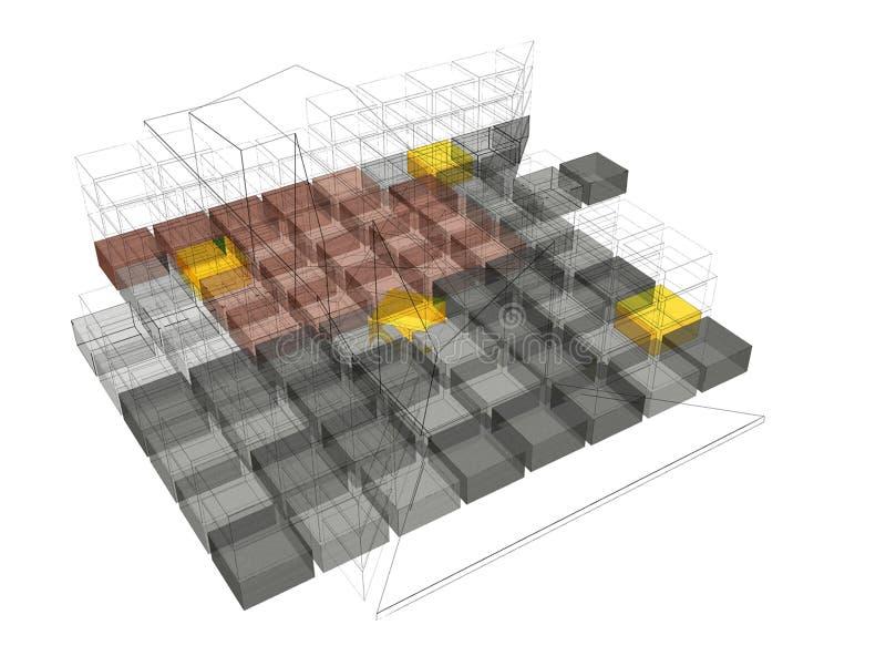 Struktureller Entwurf des modernen Gebäudes lizenzfreie abbildung