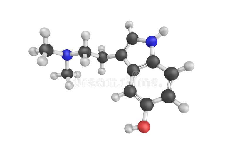 strukturen 3d av Bufotenine, en tryptamine gällde neurotraen stock illustrationer
