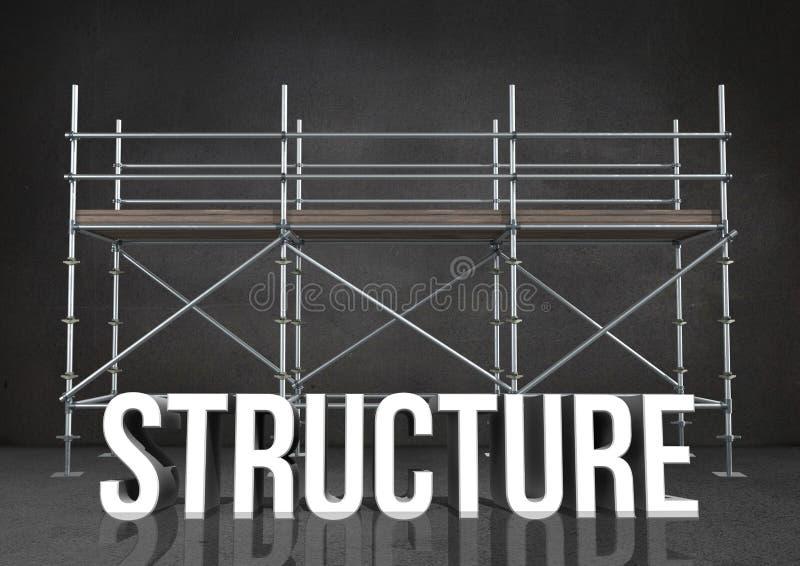 strukturen för ordet 3D mot materialet till byggnadsställning i grå färger hyr rum royaltyfri illustrationer