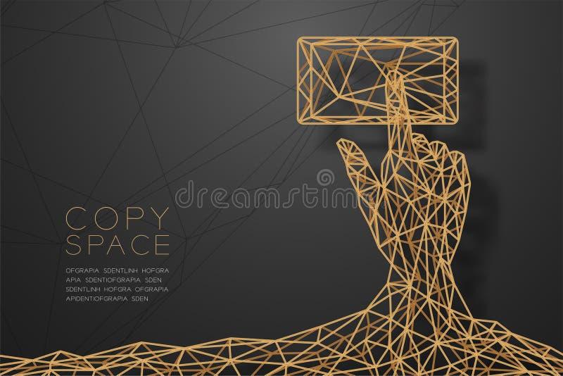 Strukturen för ramen för polygonen för wireframe för form för handpekskärmsmartphonen förbinder den guld-, illustrationen för tek royaltyfri illustrationer