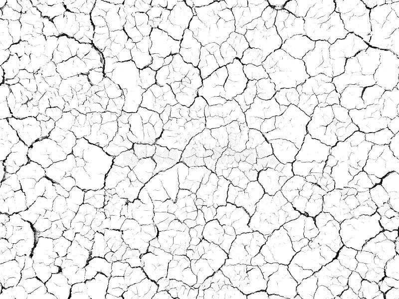Strukturen knäckte textur för jordjordningsjord på vit bakgrund, ökensprickor, torr yttersida som var ointressant i torkalandgolv arkivbild