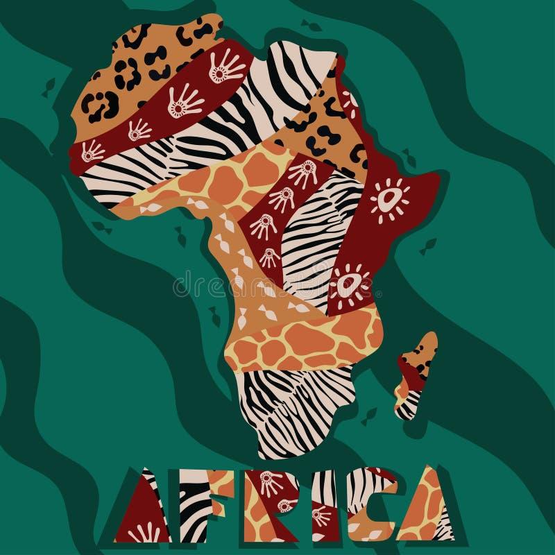 Strukturierte Karte von Afrika Von Hand gezeichnetes ethno Muster, Stammes- Hintergrund Farbiger Hintergrund der Vektorillustrati lizenzfreie abbildung