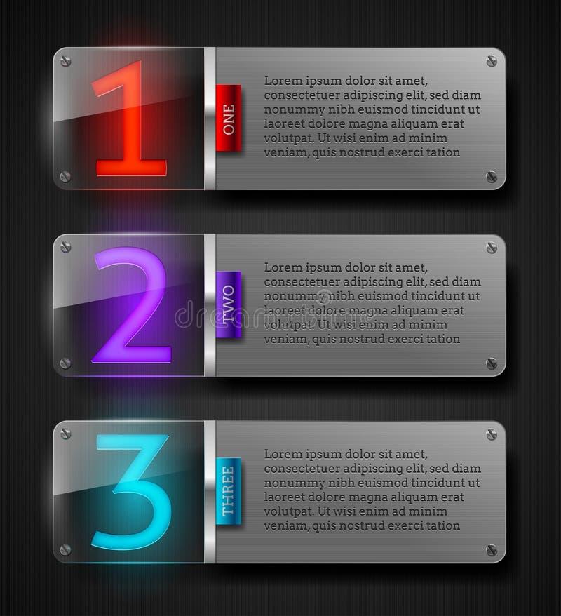 Strukturierte Metallfahnen mit leuchtenden Zahlen lizenzfreie abbildung