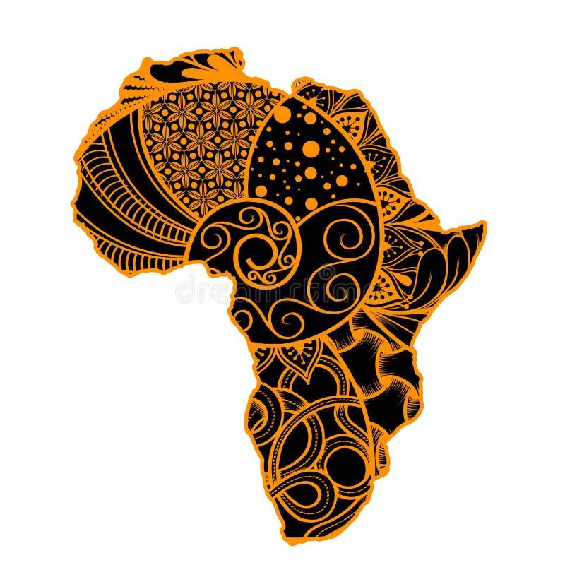 Strukturierte Vektorkarte von Afrika Von Hand gezeichnetes ethno Muster, Stammes- Hintergrund Auch im corel abgehobenen Betrag Au stock abbildung