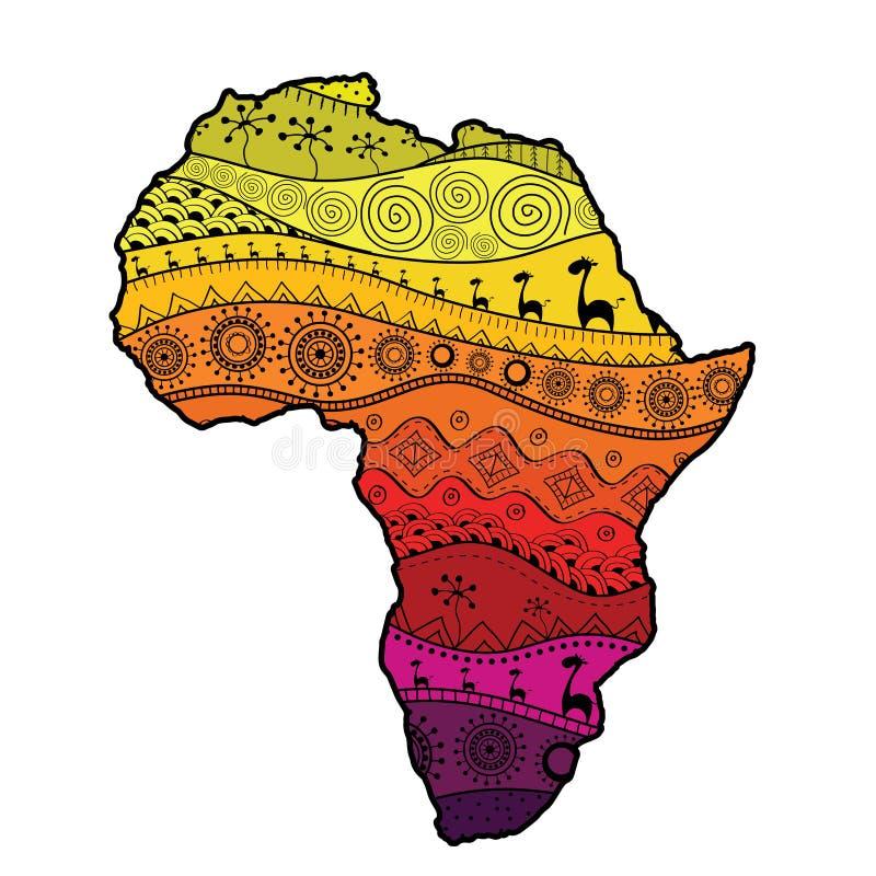 Strukturierte Vektorkarte von Afrika Von Hand gezeichnetes ethno Muster, Stammes- Hintergrund lizenzfreie abbildung