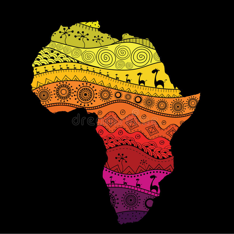Strukturierte Vektorkarte von Afrika Von Hand gezeichnetes ethno Muster, Stammes- Hintergrund Auch im corel abgehobenen Betrag Au vektor abbildung