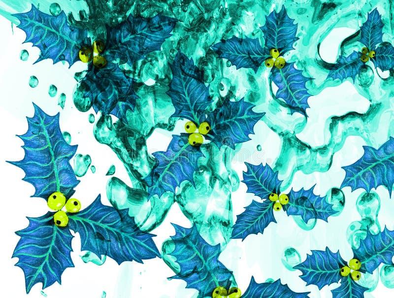 Strukturierte Wassertropfen-Stechpalme verlässt abstrakten Hintergrund lizenzfreie abbildung