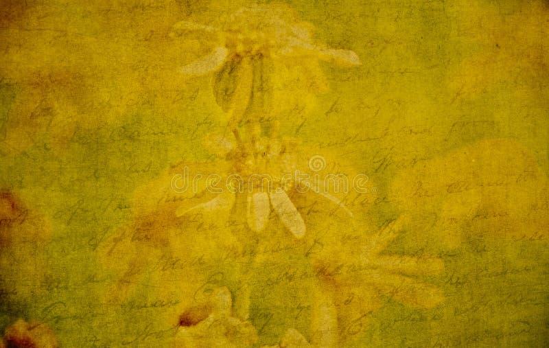 Strukturierte Wildflowers u. altes Manuskript Steigungsmasche, Steigungen stockfotografie