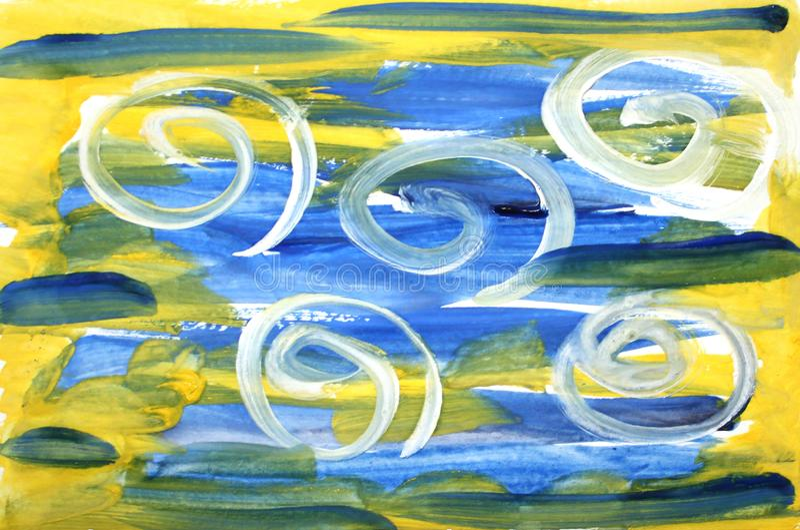 Strukturierter bunter Hintergrund der Aquarellzusammenfassung mit den blauen und gelben Pinselstrichen und den weißen Locken vektor abbildung