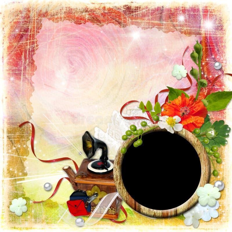 Strukturierter Hintergrund des Schmutzes mit Rahmen und Blumen stockfotografie