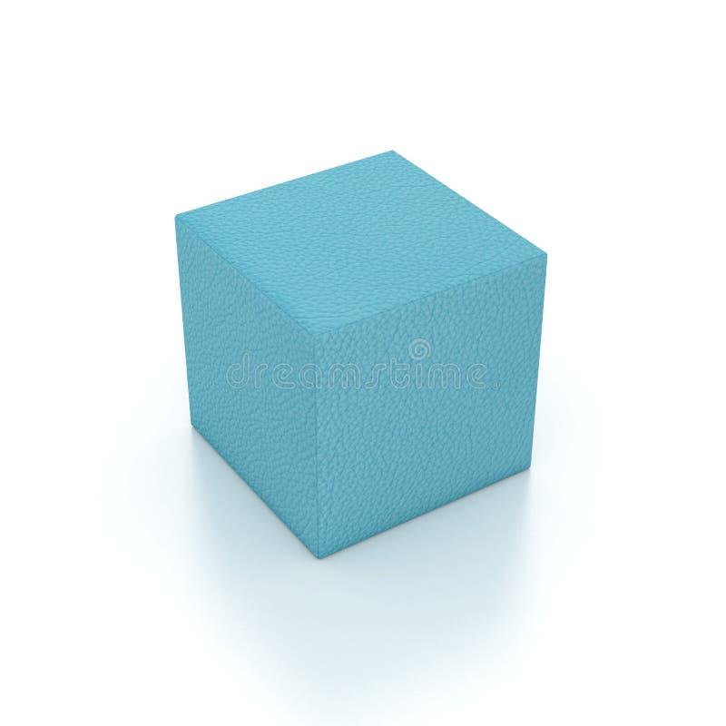Strukturierter Würfel des Seeblauen Leders stockfotografie