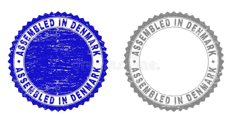 Strukturiertes ZUSAMMENGEBAUT in den DÄNEMARK-Schmutz-Stempelsiegeln lizenzfreie abbildung