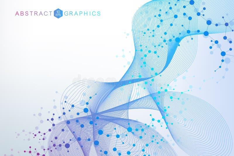 Struktury komunikacja i molekuła Dna, atom, neurony Naukowy pojęcie dla twój projekta Związane linie z kropkami ilustracja wektor
