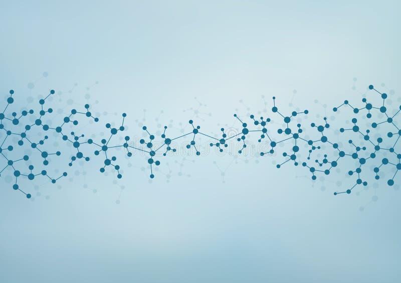 Struktury molekuła DNA i neurony abstrakcyjny tło Medycyna, nauka, technologia Wektorowa ilustracja dla twój ilustracji