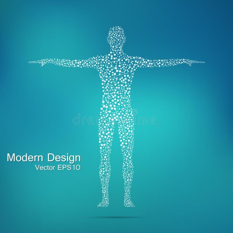 Struktury molekuła mężczyzna Abstrakcjonistycznego modela ciała ludzkiego DNA Medycyna, nauka i technika ilustracji