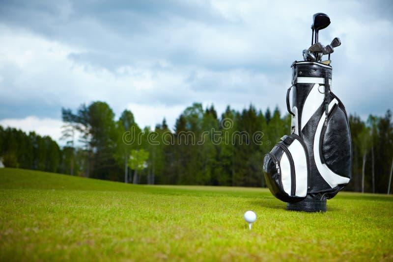 Strumentazione di golf su verde e sul foro immagini stock