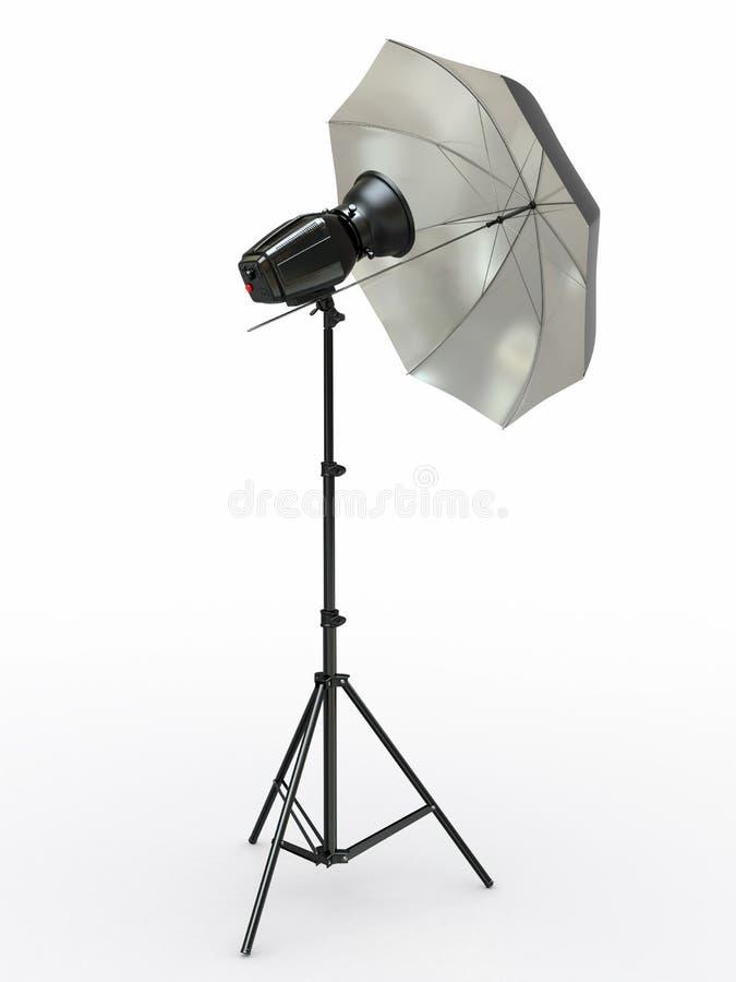 Strumentazione di illuminazione dello studio. Flash ed ombrello illustrazione vettoriale