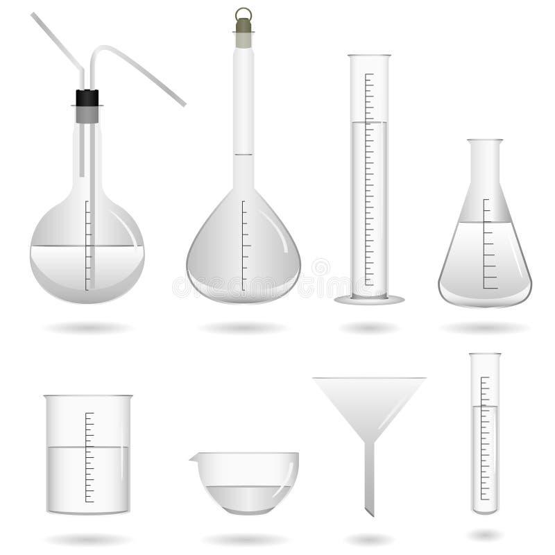 Strumentazione di laboratorio chimica di scienza illustrazione vettoriale