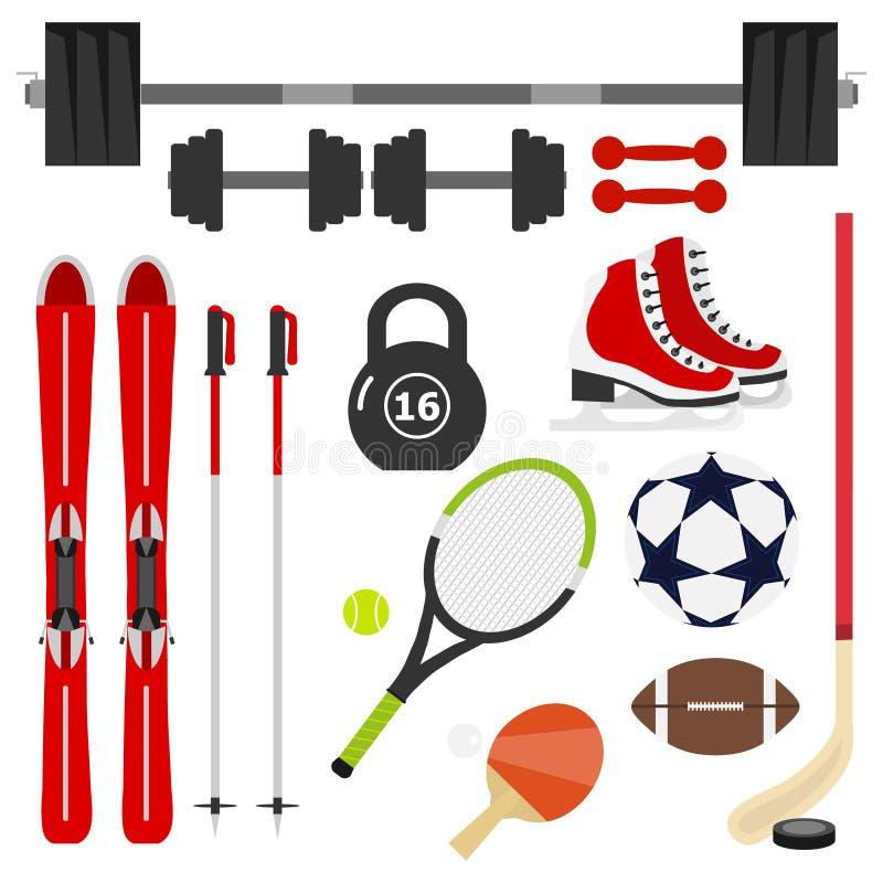 Strumentazione di sport Un grande insieme di articolo sportivo Testa di legno, bilanciere, racchetta di tennis, pallone da calcio illustrazione di stock