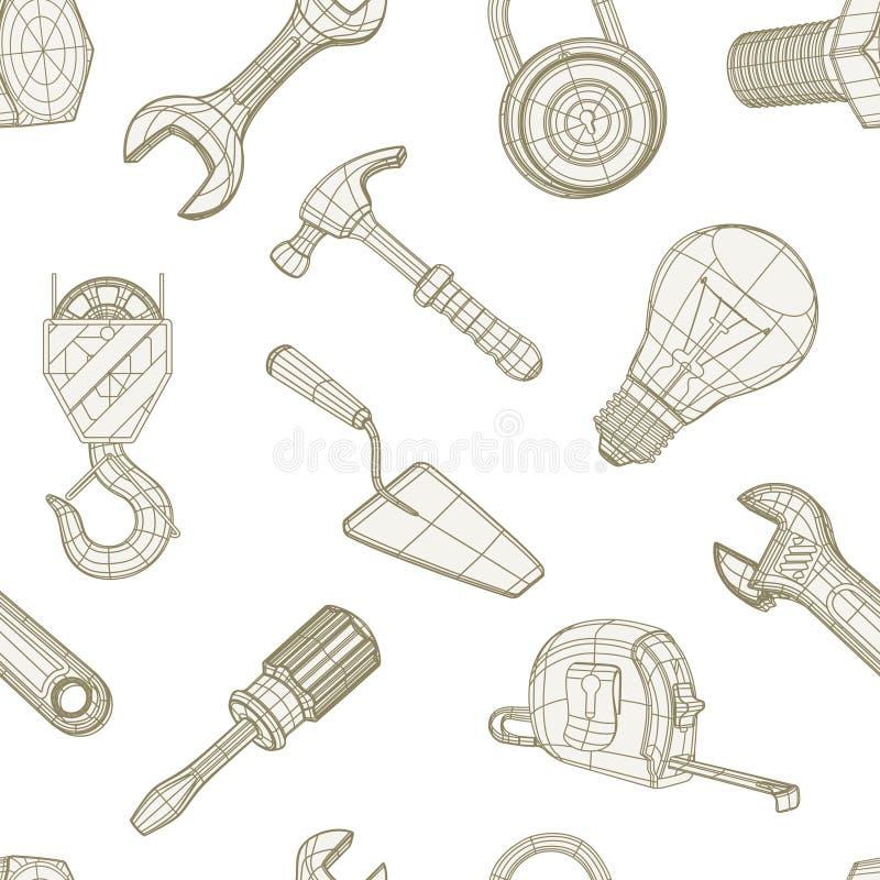 Strumenti che disegnano modello senza cuciture illustrazione vettoriale