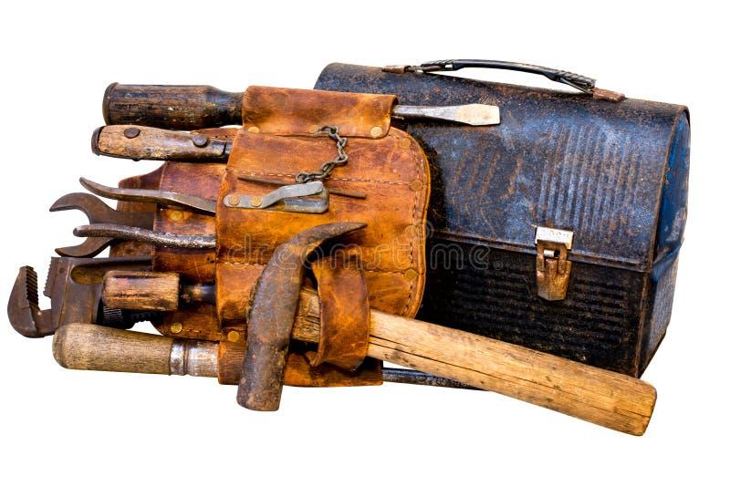Strumenti d'annata, cinghia dello strumento e scatola di pranzo immagini stock