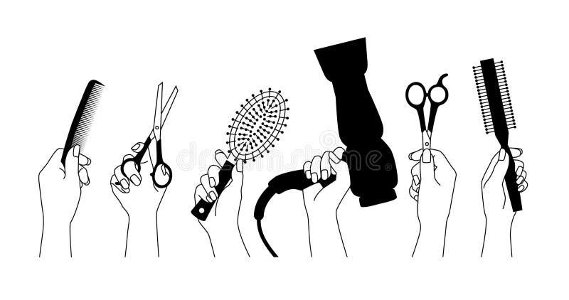 Strumenti dei parrucchieri in mani pronte a lavorare fotografie stock
