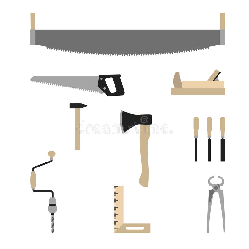 Strumenti del carpentiere - vettore illustrazione vettoriale