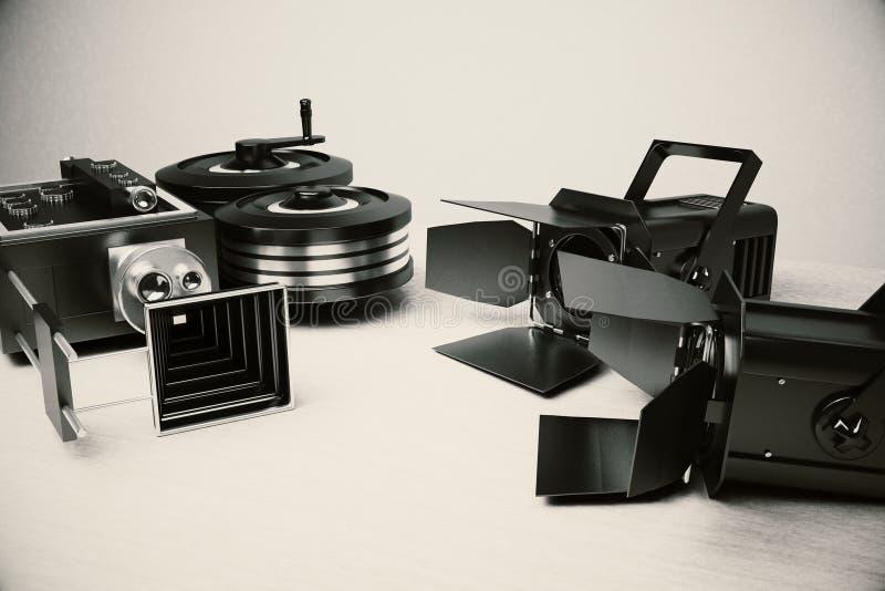Strumenti del film dell'annata e della cinepresa fotografia stock