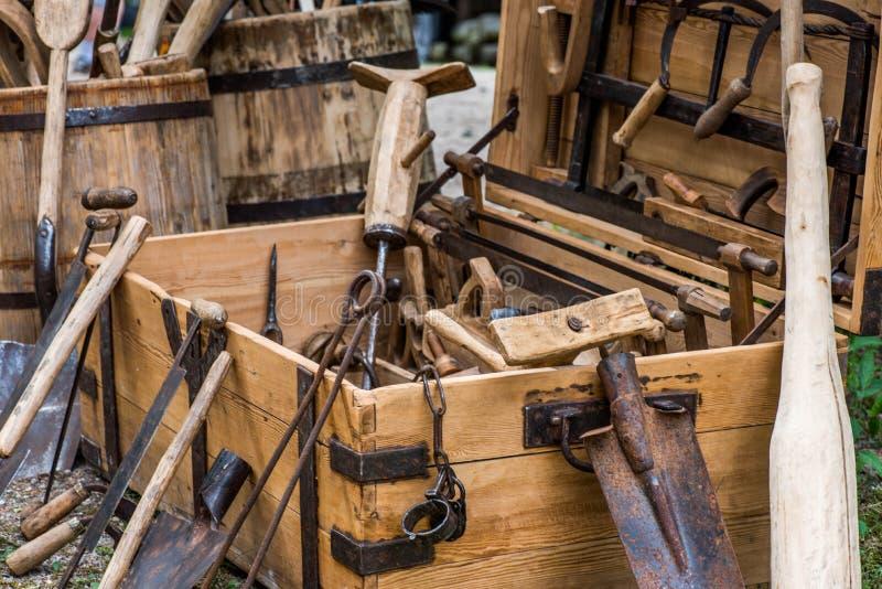 Strumenti dell'annata dei carpentieri fotografia stock libera da diritti