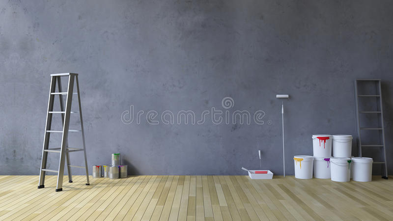 strumenti della parete in bianco 3Ds e della pittura illustrazione di stock