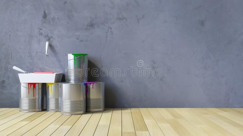 strumenti della parete in bianco 3Ds e della pittura fotografia stock