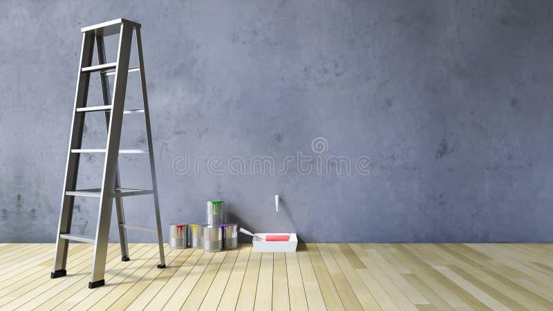 strumenti della parete in bianco 3Ds e della pittura immagini stock libere da diritti