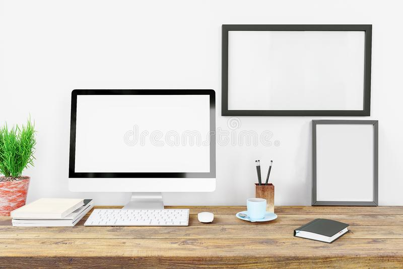 Strumenti dello schermo in bianco e dell'ufficio del visualizzatore del computer sullo scrittorio nell'area di lavoro creativa mo illustrazione di stock