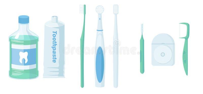 Strumenti dentari di pulizia Prodotti orali di igiene e di cura Spazzolino da denti, dentifricio in pasta, colluttorio, spazzola  royalty illustrazione gratis