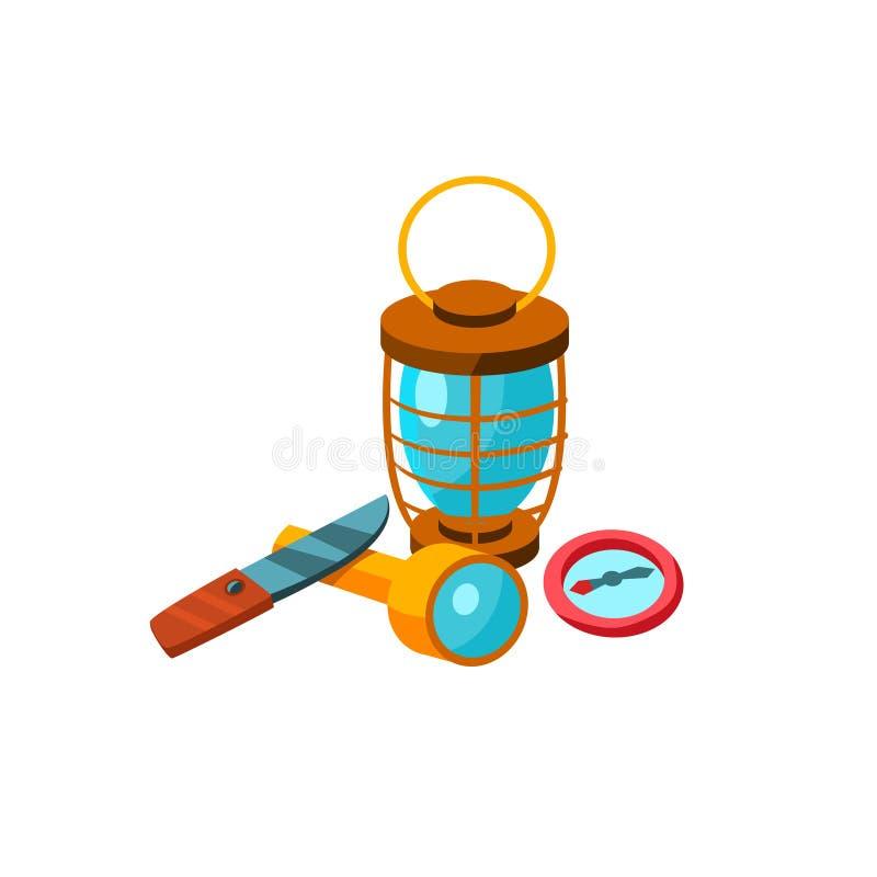 Strumenti di campeggio Illustrazione di vettore illustrazione di stock
