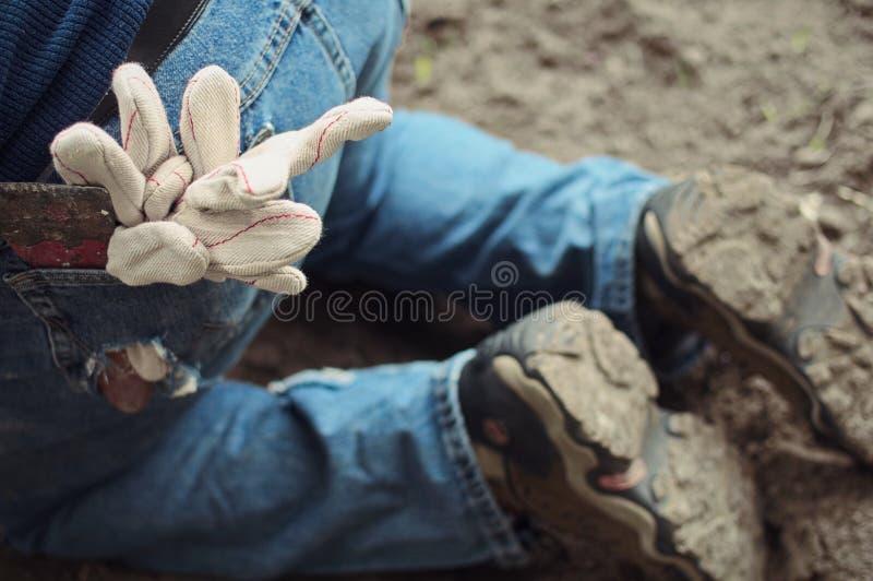 Strumenti di Constructon in una tasca posteriore fotografia stock