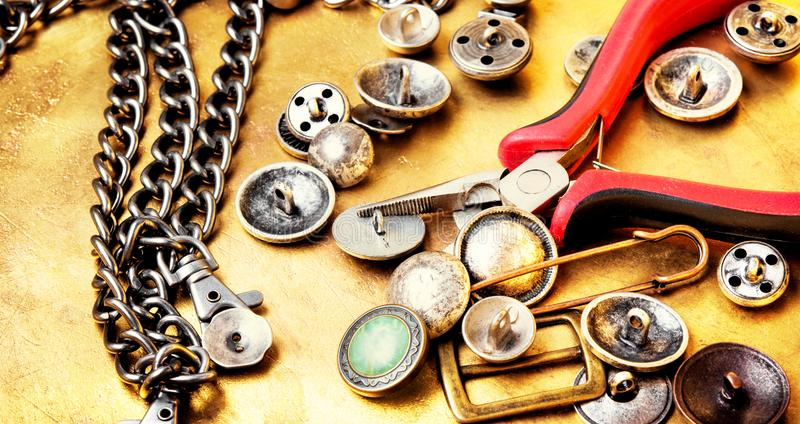 Strumenti di cucito per gli strumenti del cucito immagine stock