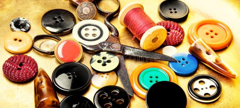 Strumenti di cucito per gli strumenti del cucito fotografie stock