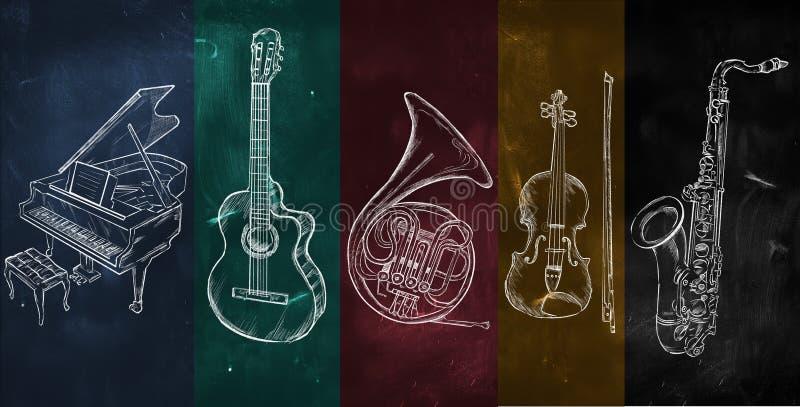Strumenti di disegno variopinti del fondo di musica illustrazione vettoriale