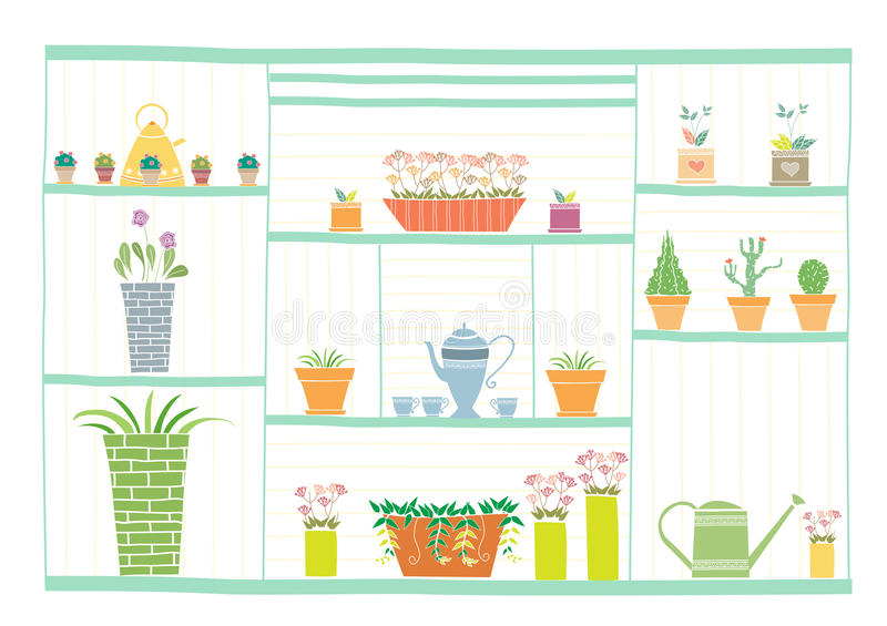 Strumenti di giardinaggio e fiori sullo scaffale di legno, illustrazioni di vettore illustrazione vettoriale