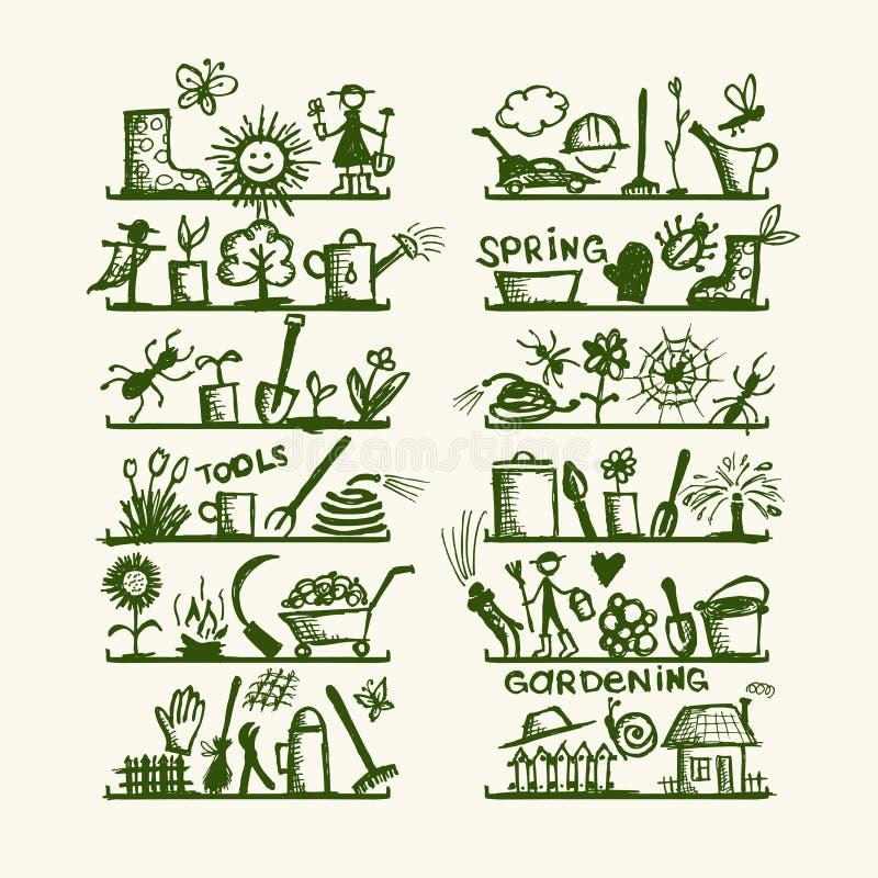 Strumenti di giardino sulle mensole, abbozzo per il vostro disegno illustrazione vettoriale
