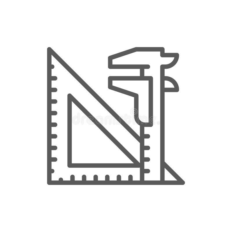 Strumenti di ingegneria, chiave di spaccatura e linea del regolo triangolare icona illustrazione vettoriale