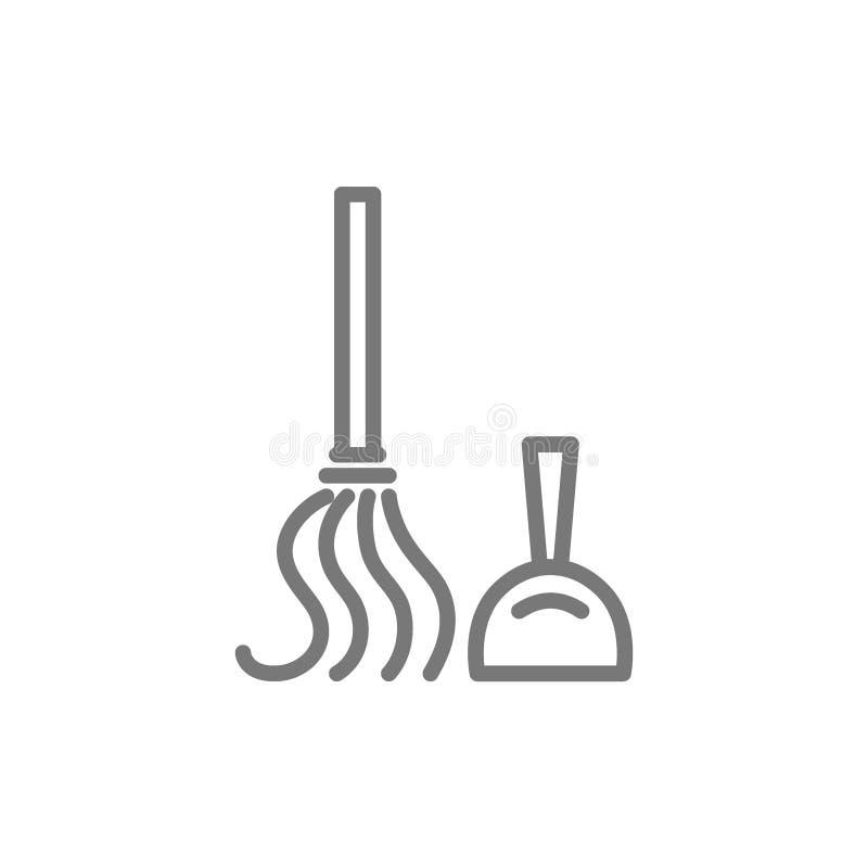 Strumenti di pulizia, mestolo, linea icona della scopa illustrazione vettoriale