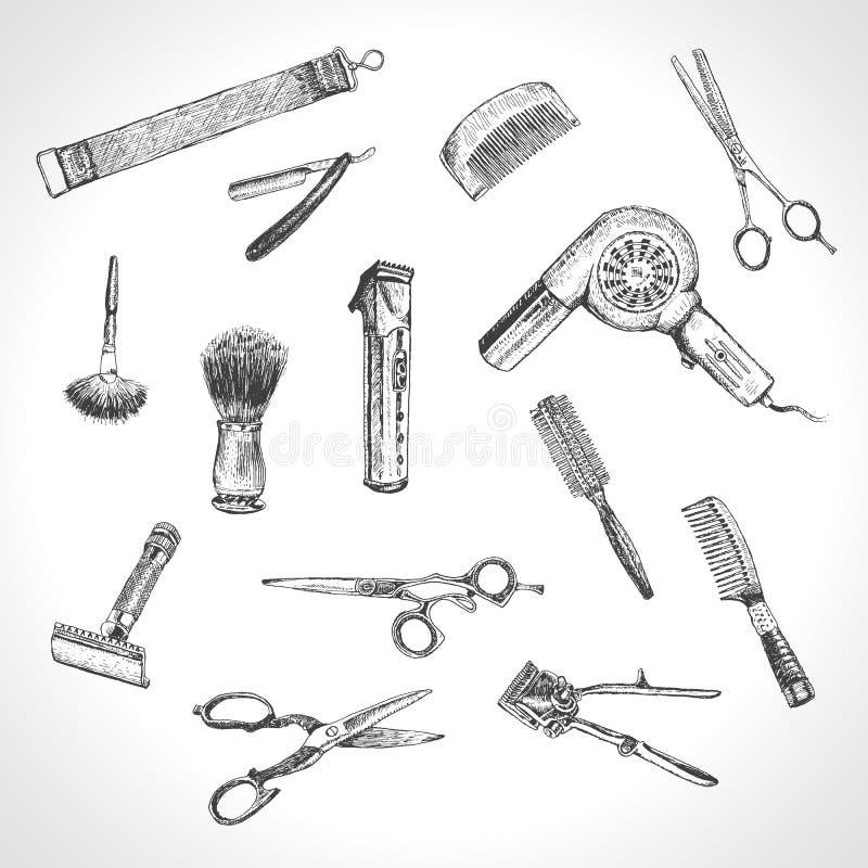 Strumenti disegnati a mano del professionista dei parrucchieri Insieme di Barber Stylist Tools illustrazione vettoriale