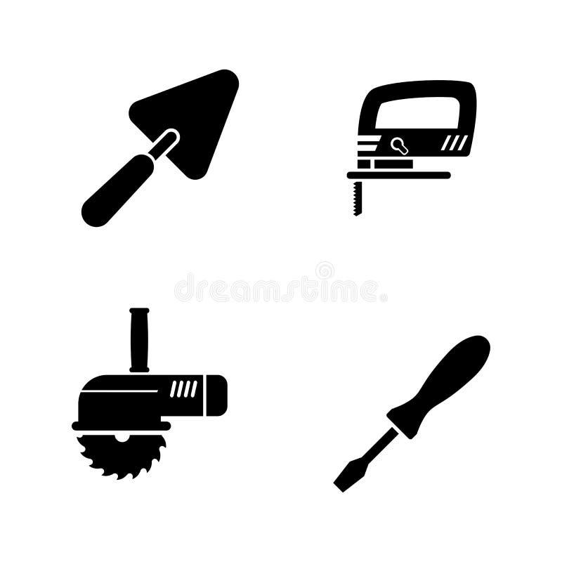 Strumenti domestici di riparazione Icone relative semplici di vettore illustrazione vettoriale