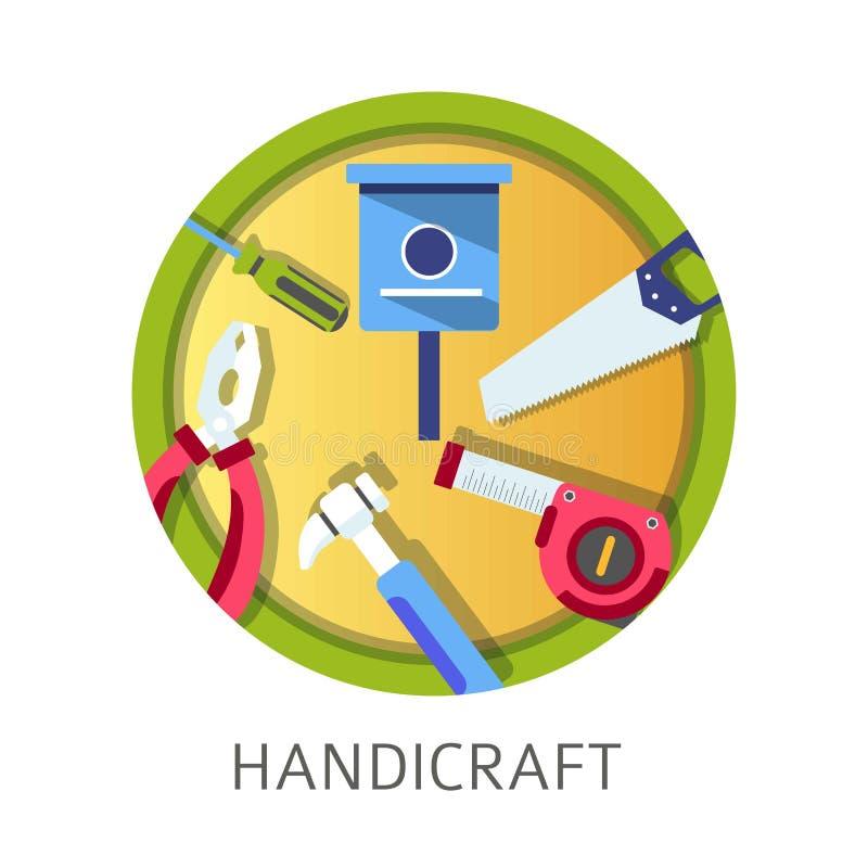 Strumenti e strumenti di disciplina della scuola dell'artigianato per i ragazzi illustrazione di stock