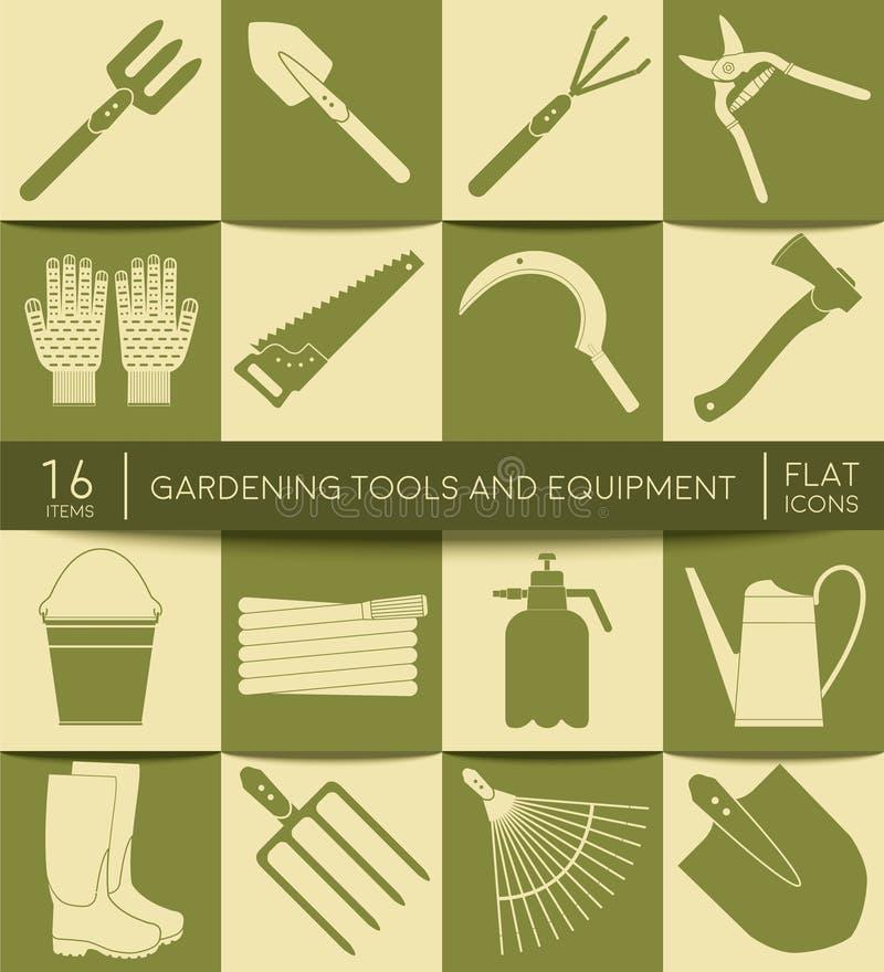 Strumenti ed attrezzature di giardinaggio Icone piane Insieme degli strumenti di agricoltura illustrazione di stock