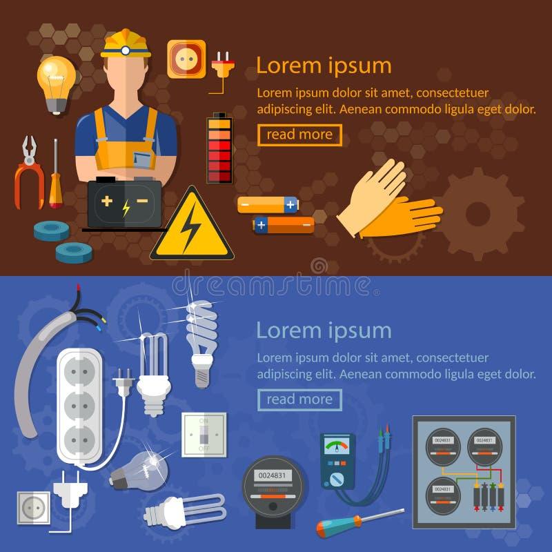 Strumenti elettrici dell'elettricista delle insegne professionali di elettricità royalty illustrazione gratis