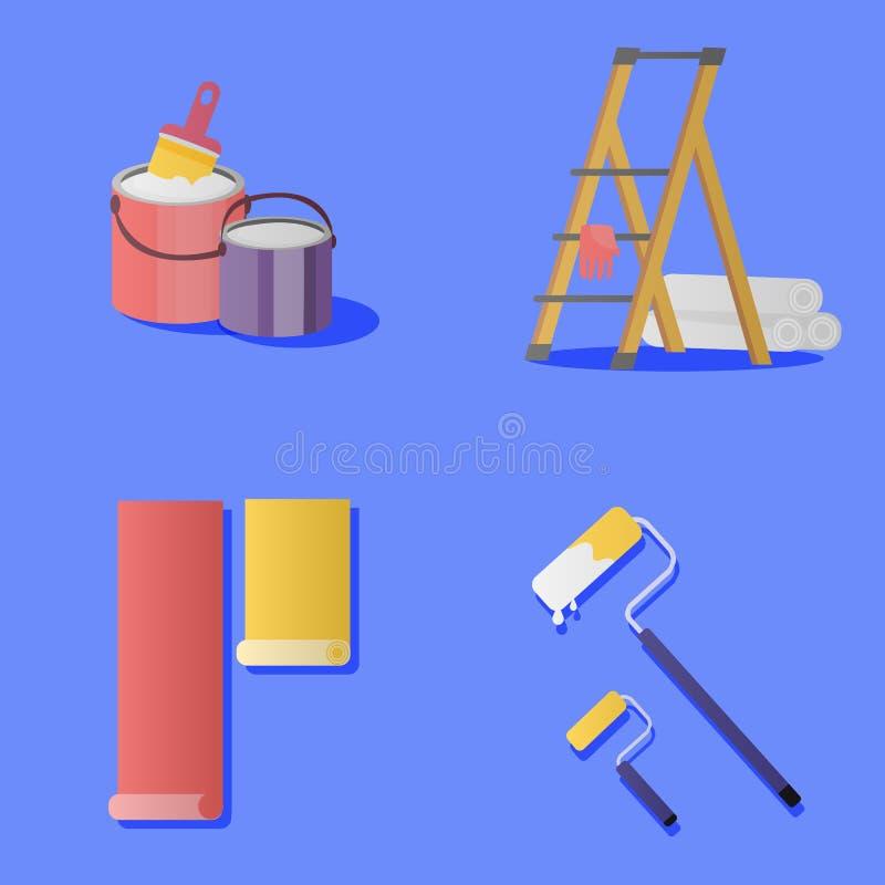 strumenti messi di manutenzione della parete e della pittura illustrazione vettoriale